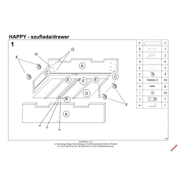Ящик к кровати Halmar Happy   Белый - 4