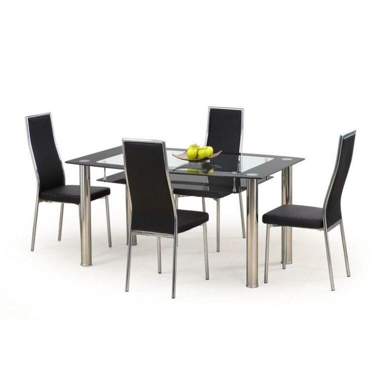 Стол обеденный Halmar Cristal | Прозрачный / черный