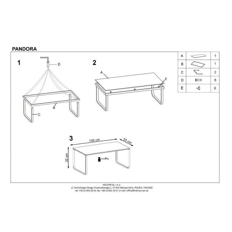 Стол журнальный Halmar Pandora | Дартс - 2