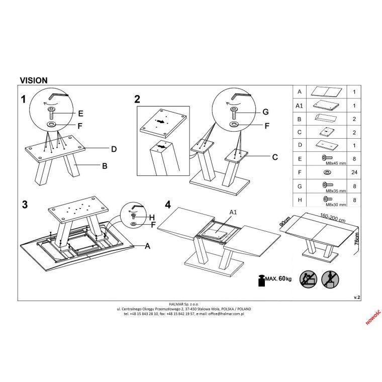 Стол раскладной Halmar Vision | Белый - 2