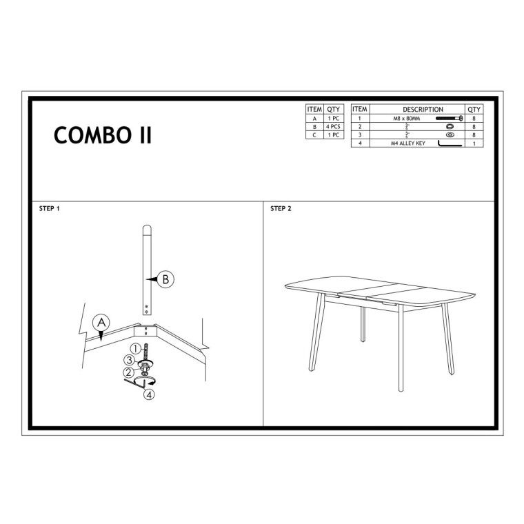 Стол обеденный Signal Combo II | Белый - 4