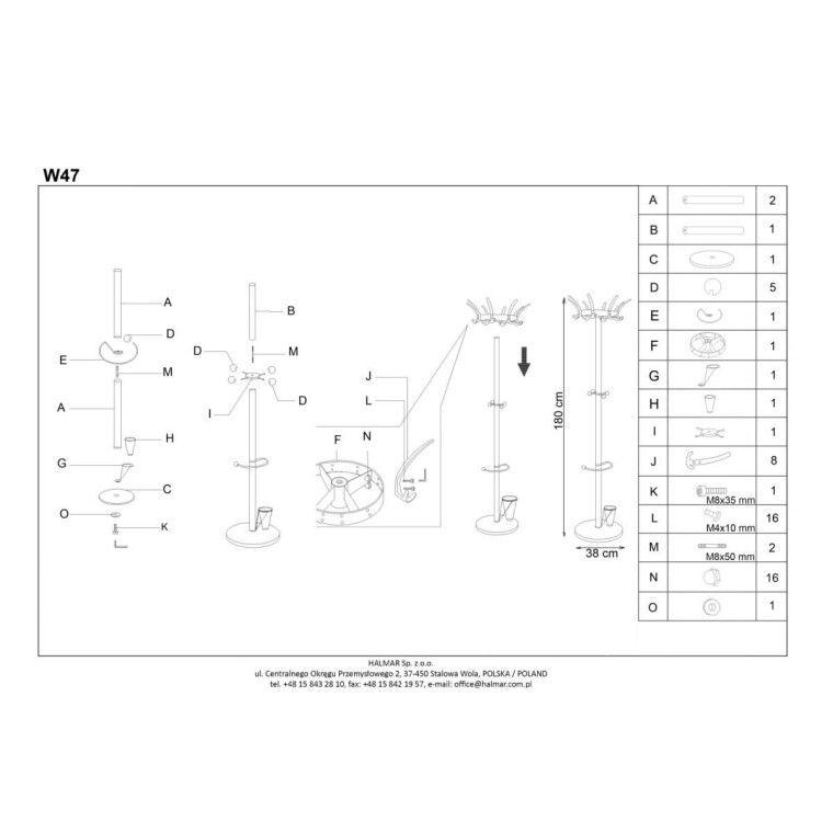 Вешалка Halmar W47 | Серебристый / черный - 2