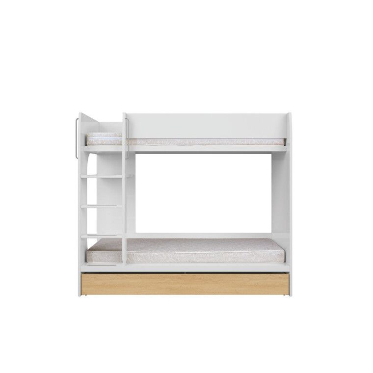 Двухъярусная кровать BRW Princeton | Белый / Дуб польский