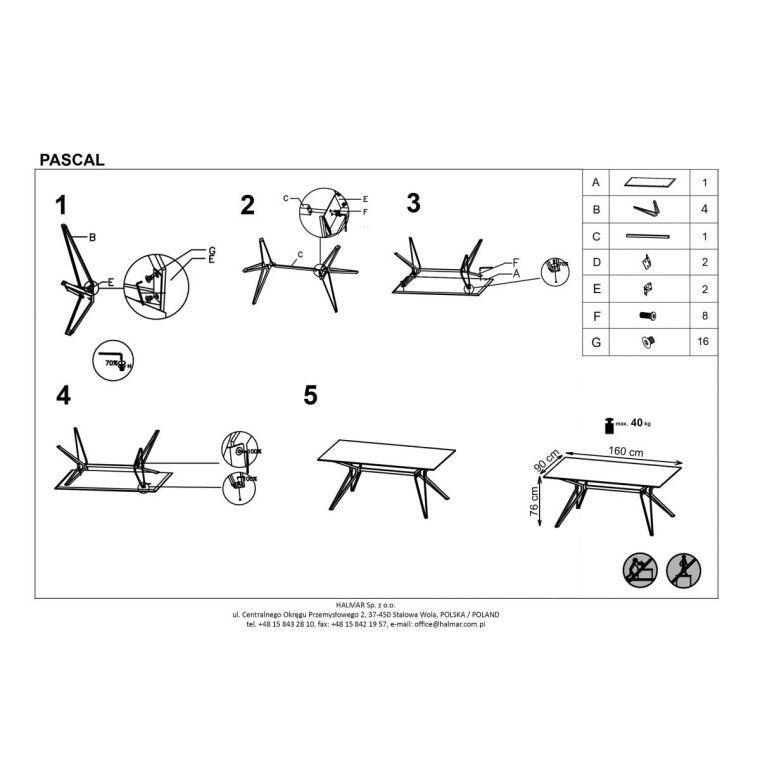 Стол обеденный Halmar Pascal  | Белый / Черный - 2