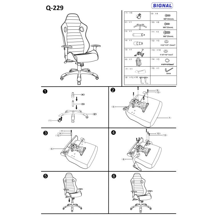 Кресло поворотное Signal Q-229   Черный / серый - 3