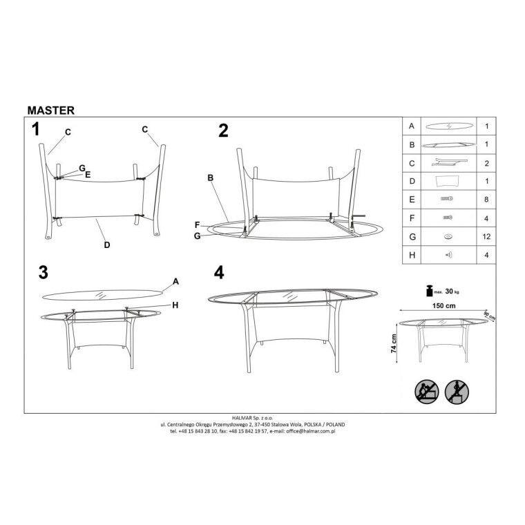 Стол садовый Halmar Master | Коричневый / черный - 2
