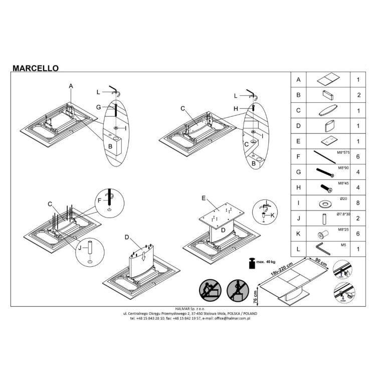 Стол раздвижной Halmar Marcello | Белый - 2