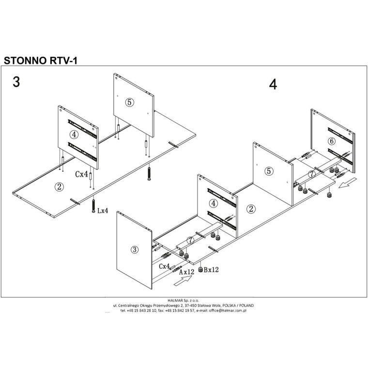Тумба под ТВ Halmar Stonno RTV1 | Белый / бетон - 7
