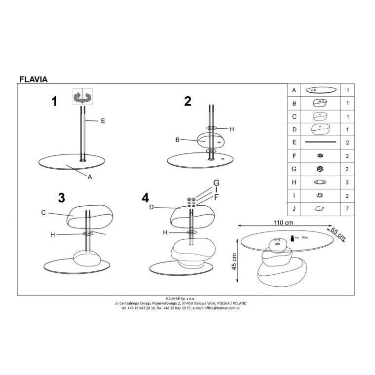 Стол журнальный Halmar Flavia | Серый (эффект камня) - 2