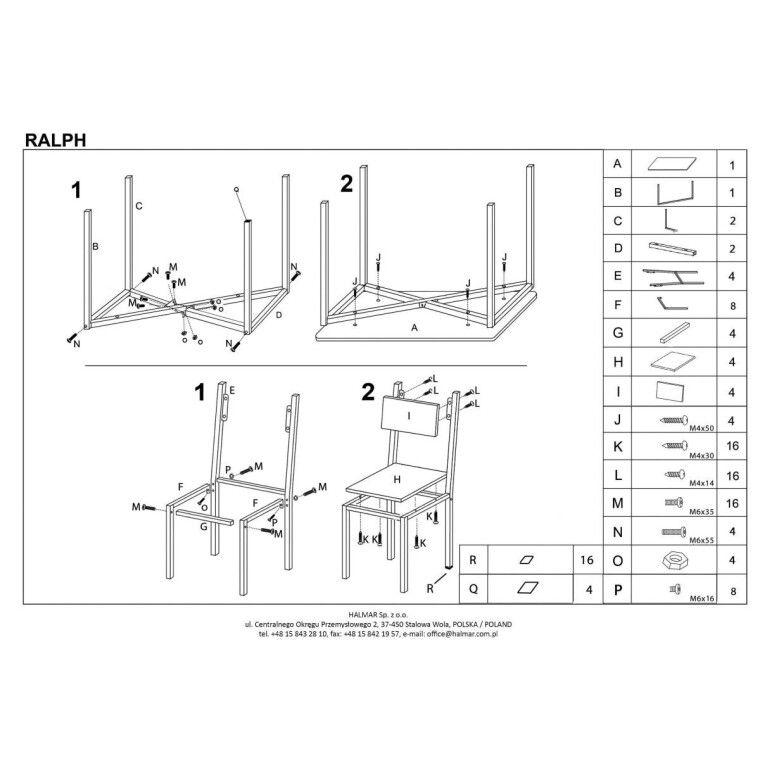 Набор мебели столовой Halmar Ralph | Дуб сонома - 2