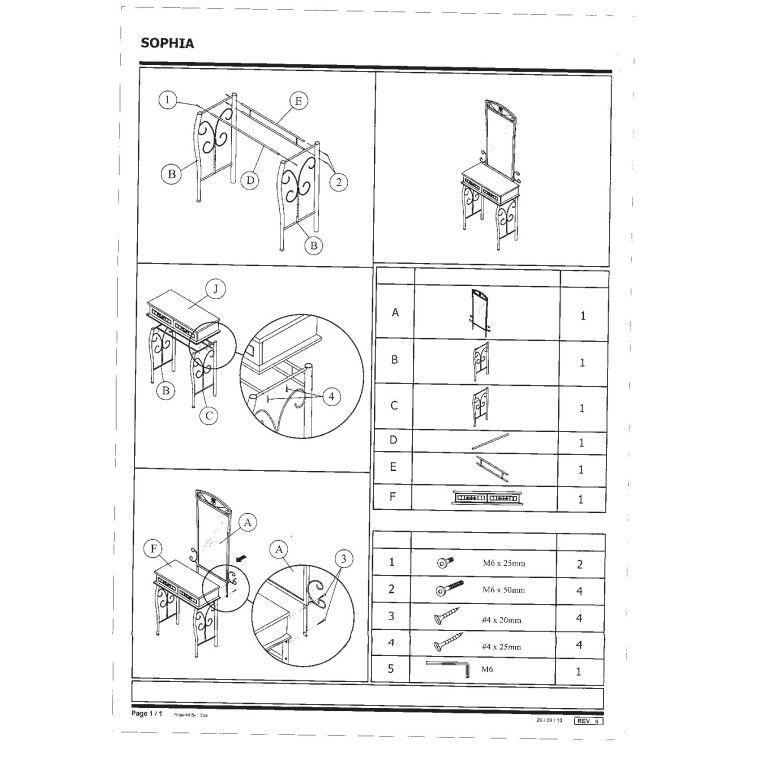 Туалетный столик Signal Sophia | Античная черешня / черный - 3