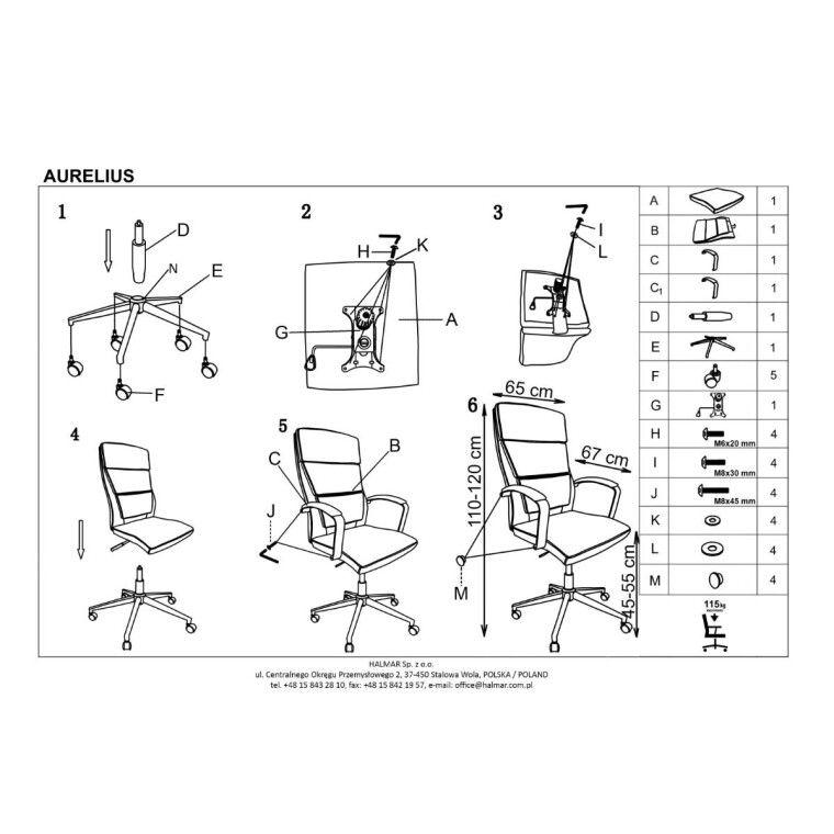 Кресло поворотное Halmar Aurelius   Белый - 2