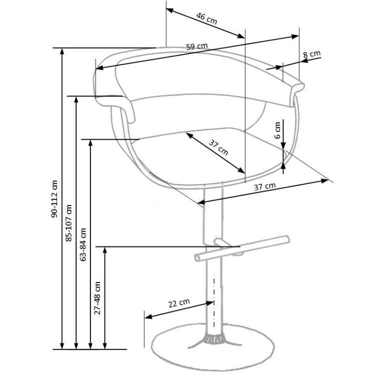 Стілець барний Halmar H-45 | Чорний / Світлий дуб - 3