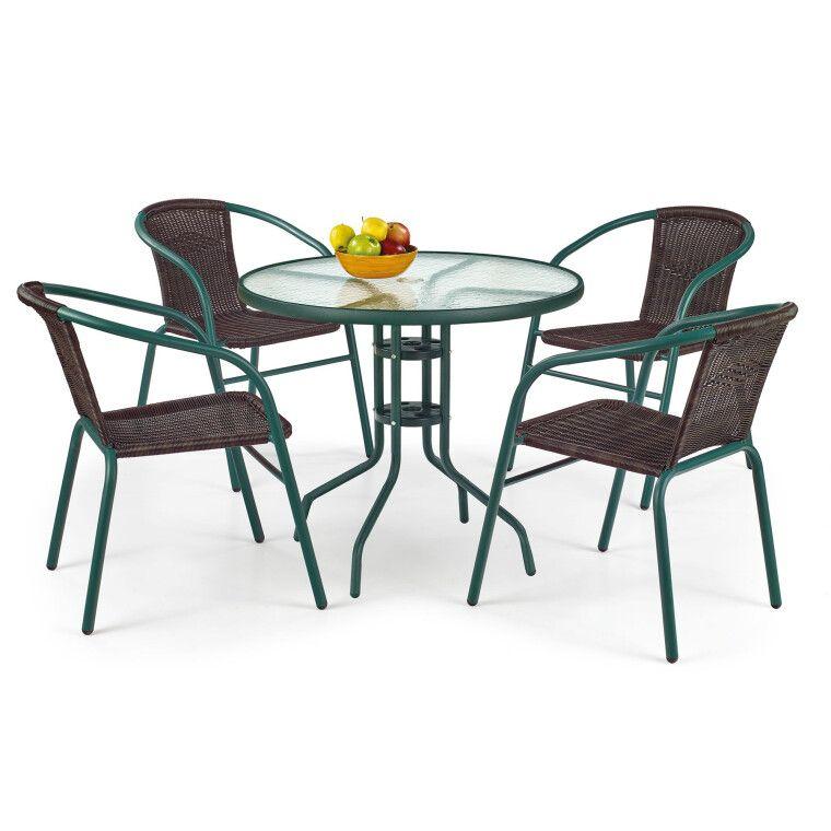 Стол садовый Halmar Grand 80 | Темно-зеленый