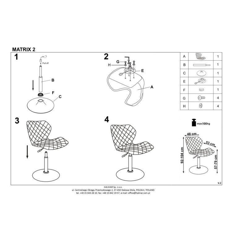 Кресло поворотное Halmar Matrix 2 | Белый / черный - 2