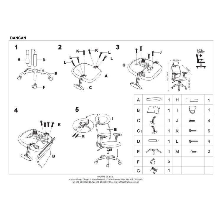 Кресло поворотное Halmar Dancan | Черный / Серый - 2