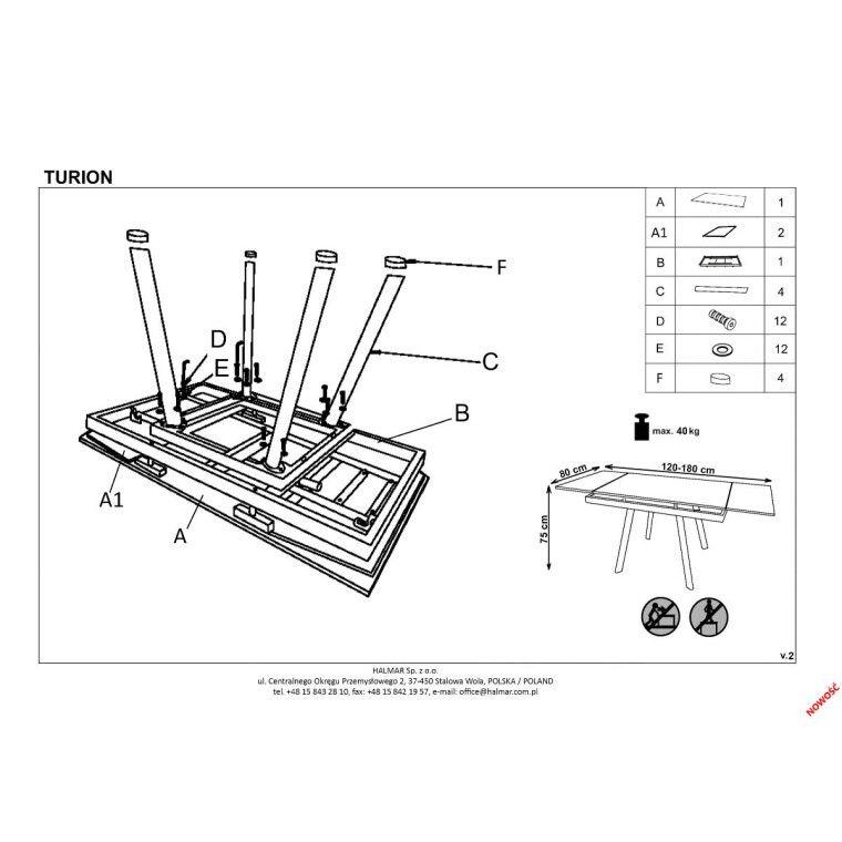 Стол раздвижной Halmar Turion | Хаки / бежевый - 2