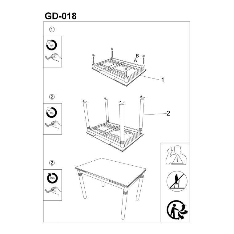 Cтол обеденный Signal  GD-018 | Серый / Хром - 3
